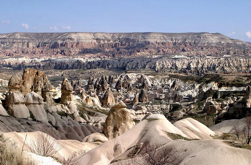 kapadokya'nın tepeden çekilmiş doğa manzaralaı