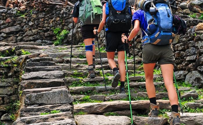 doğa yürüyüşü yapan insanlar